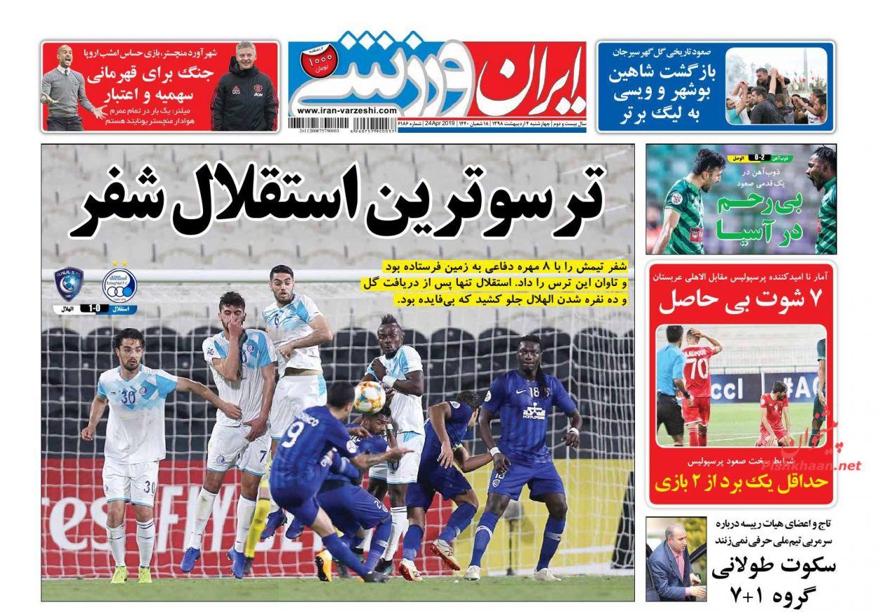 صفحه اول روزنامه ی ایران ورزشی