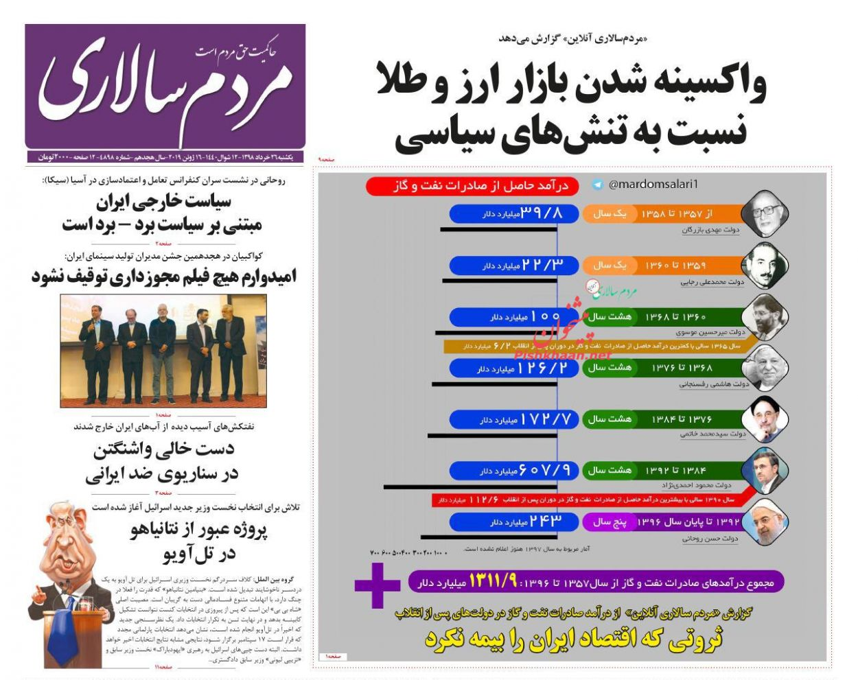عناوین اخبار روزنامه مردم سالاری در روز یکشنبه ۲۶ خرداد :