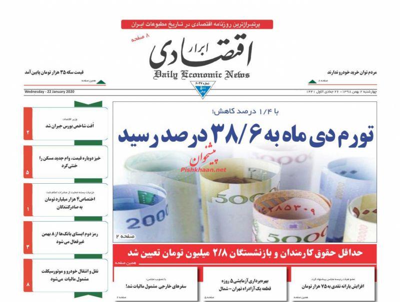 عناوین اخبار روزنامه ابرار اقتصادی در روز چهارشنبه ۲ بهمن :