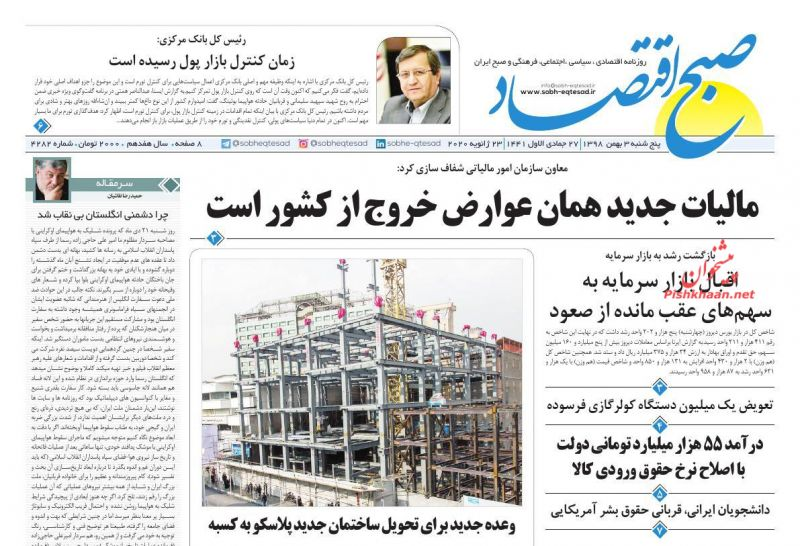 عناوین اخبار روزنامه صبح اقتصاد در روز پنجشنبه ۳ بهمن :