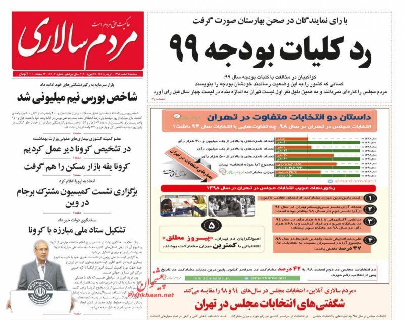 عناوین اخبار روزنامه مردم سالاری در روز سهشنبه ۶ اسفند
