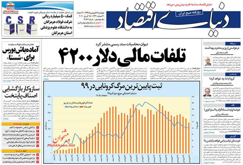 عناوین اخبار روزنامه دنیای اقتصاد در روز چهارشنبه ۲۷ فروردين
