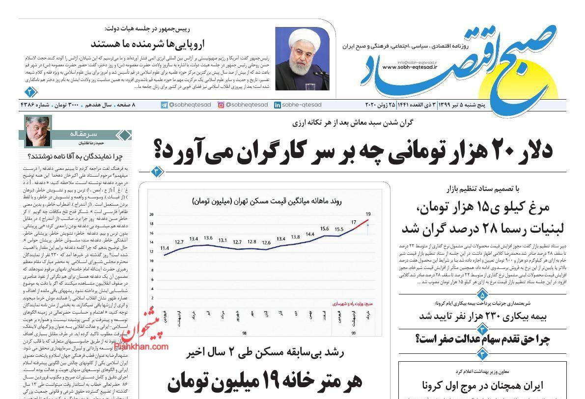 عناوین اخبار روزنامه صبح اقتصاد در روز پنجشنبه ۵ تیر