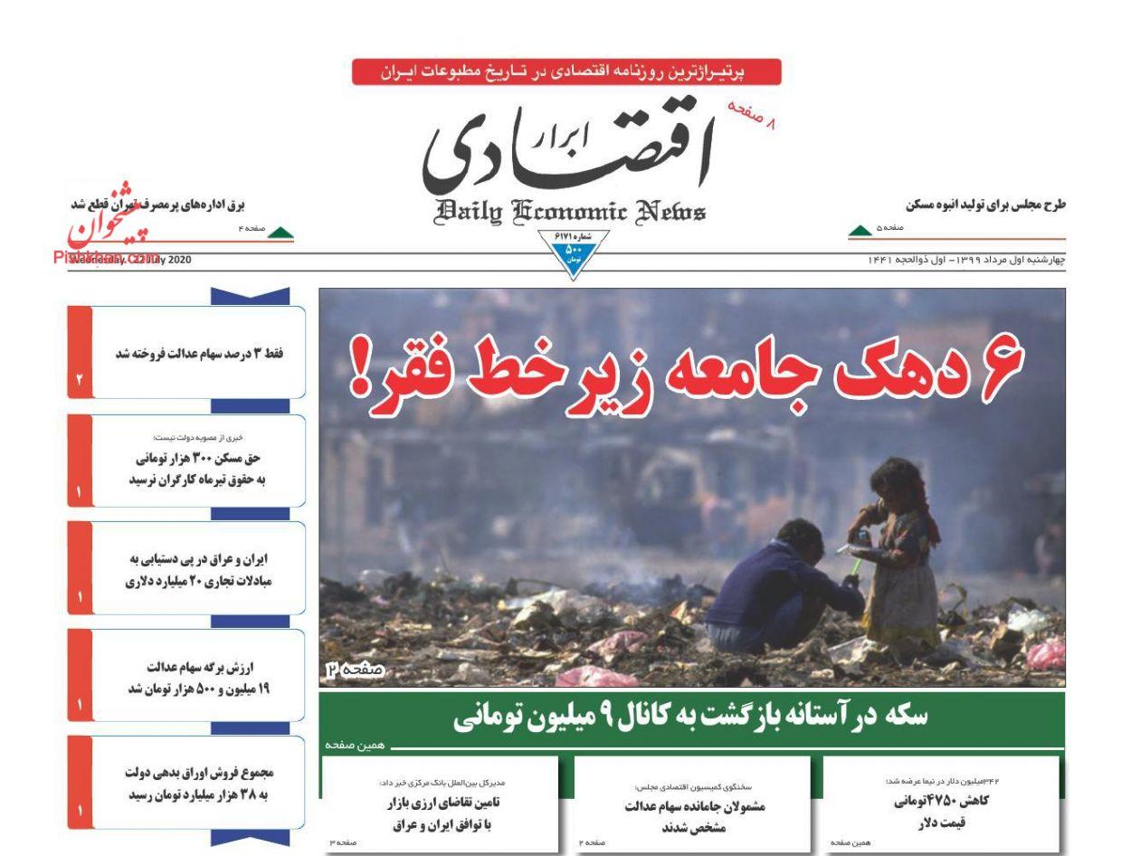 عناوین اخبار روزنامه ابرار اقتصادی در روز چهارشنبه ۱ مرداد