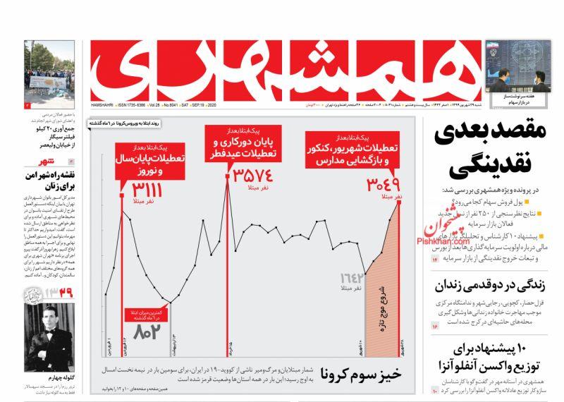 عناوین اخبار روزنامه همشهری در روز شنبه ۲۹ شهريور