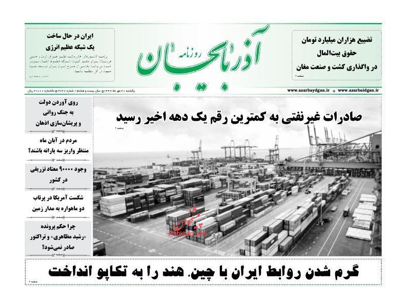 News headlines of Azerbaijan newspaper on Sunday, October 11th
