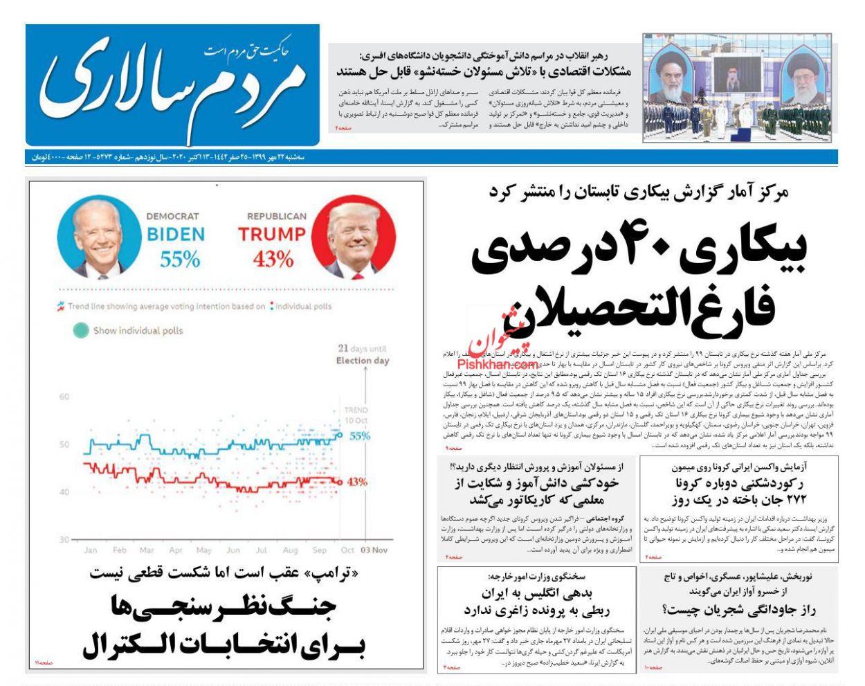 عناوین اخبار روزنامه مردم سالاری در روز سهشنبه ۲۲ مهر