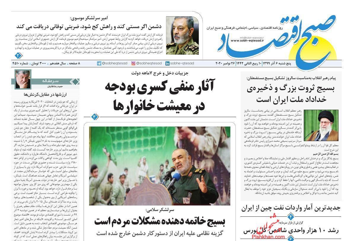 عناوین اخبار روزنامه صبح اقتصاد در روز پنجشنبه ۶ آذر