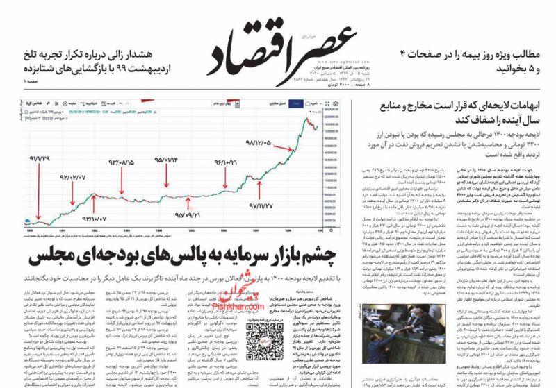 عناوین اخبار روزنامه عصر اقتصاد در روز شنبه ۱۵ آذر