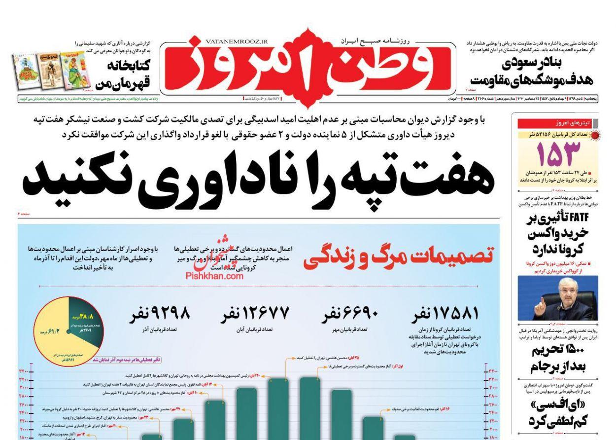 عناوین اخبار روزنامه وطن امروز در روز پنجشنبه ۴ دی