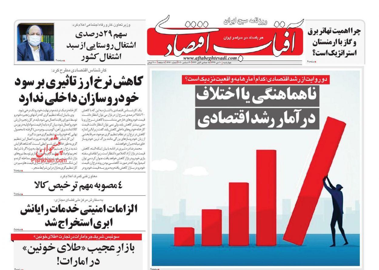 عناوین اخبار روزنامه آفتاب اقتصادی در روز چهارشنبه ۱۰ دی