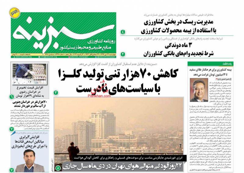 عناوین اخبار روزنامه سبزینه در روز چهارشنبه ۲۴ دی