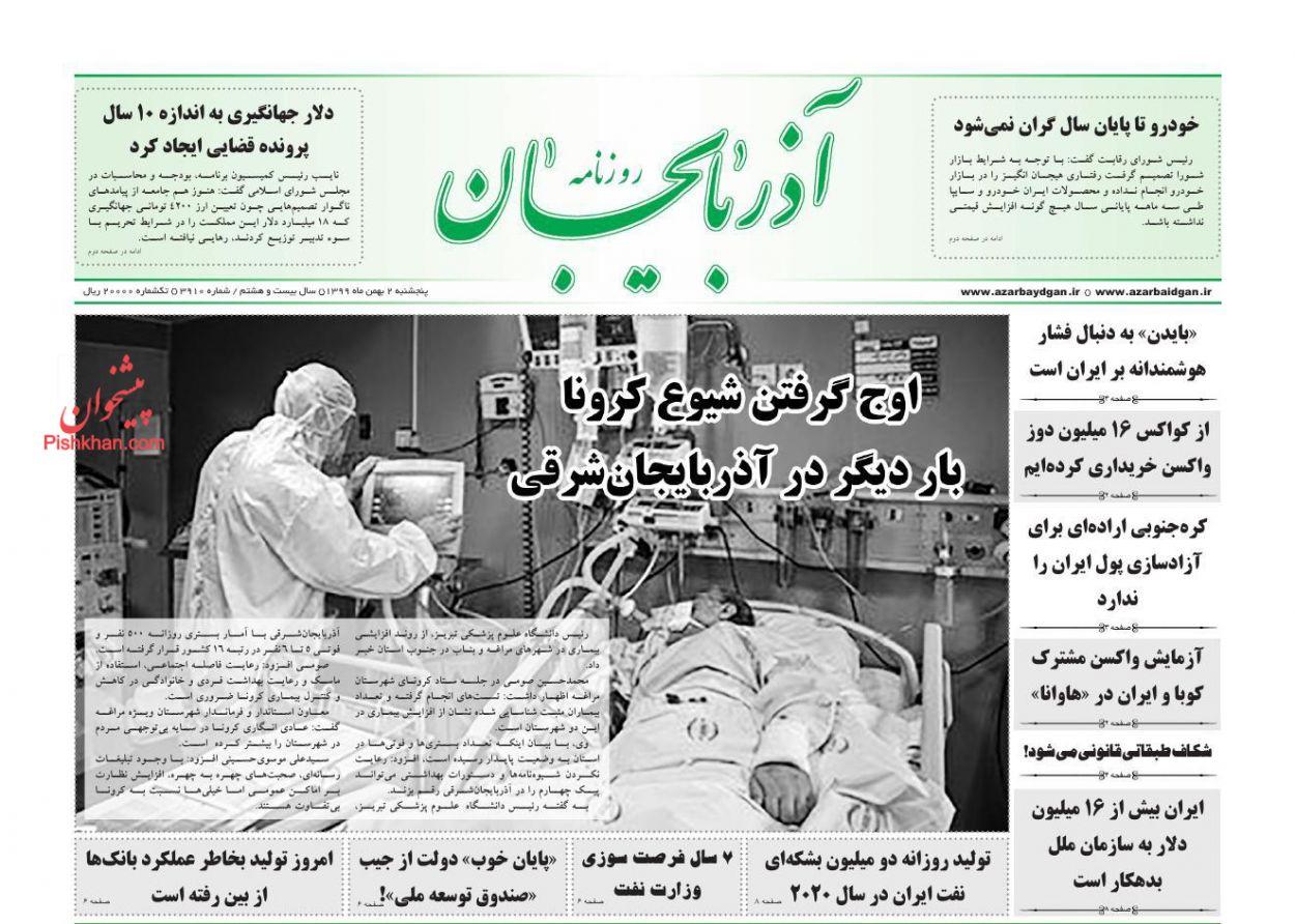 عناوین اخبار روزنامه آذربایجان در روز پنجشنبه ۲ بهمن