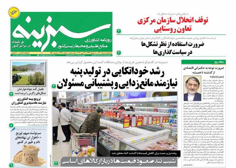 عناوین اخبار روزنامه سبزینه در روز شنبه ۱ خرداد