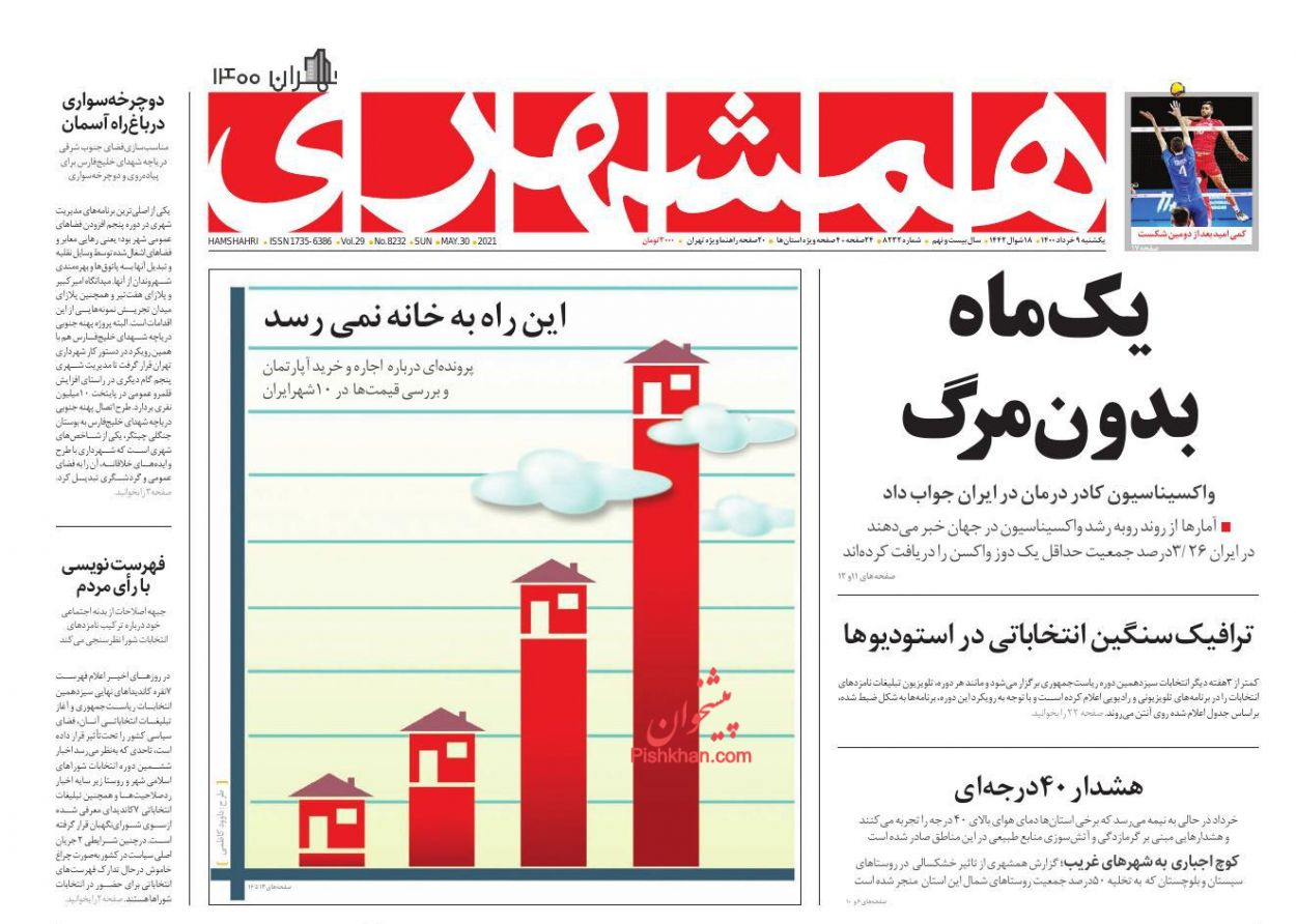 عناوین اخبار روزنامه همشهری در روز یکشنبه ۹ خرداد