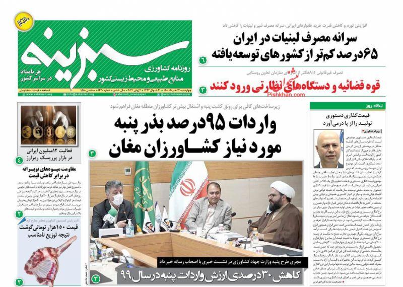 عناوین اخبار روزنامه سبزینه در روز چهارشنبه ۱۲ خرداد