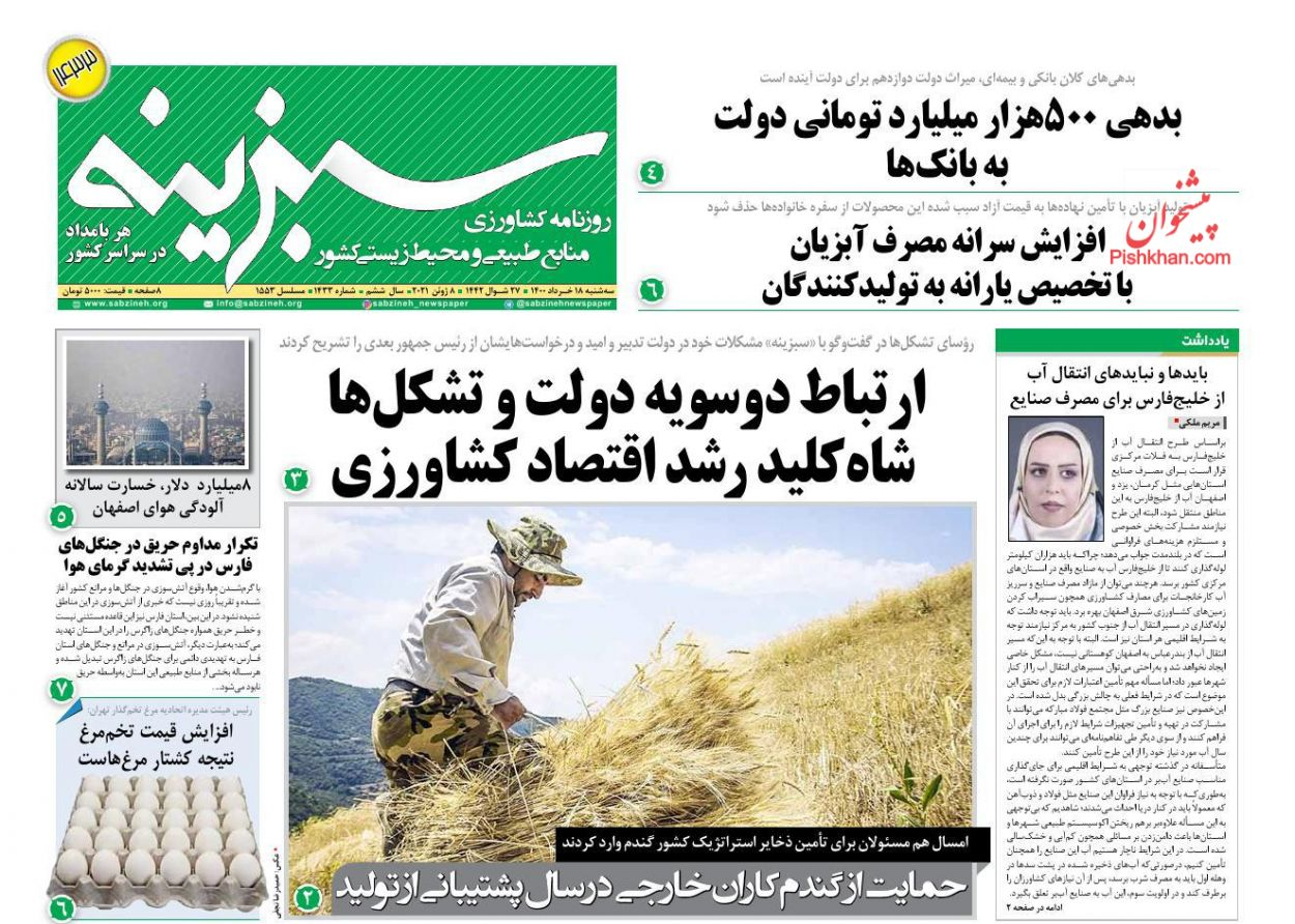 عناوین اخبار روزنامه سبزینه در روز سهشنبه ۱۸ خرداد