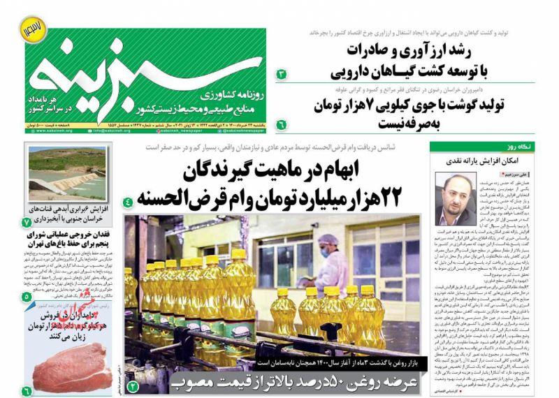 عناوین اخبار روزنامه سبزینه در روز یکشنبه ۲۳ خرداد