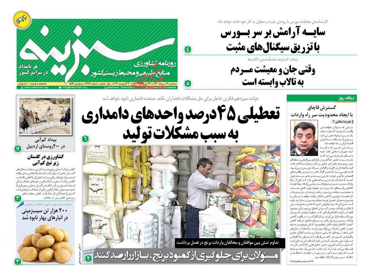 عناوین اخبار روزنامه سبزینه در روز سهشنبه ۱۲ مرداد
