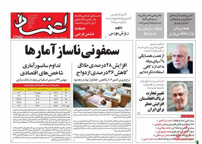 عناوین اخبار روزنامه اعتماد در روز سهشنبه ۴ آبان
